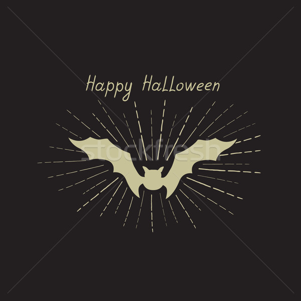 Halloween greeting card. Holiday background with lettering and bat Stock photo © Terriana