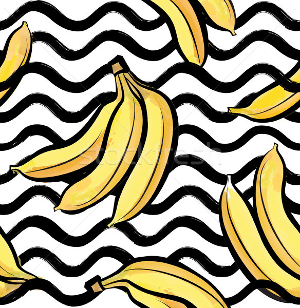 Fruit wave seamless pattern with banana. Food background Stock photo © Terriana