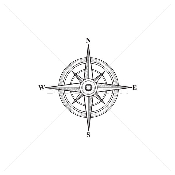 Compass sign. Wind rose hand sketch symbol. Navigation icon Stock photo © Terriana