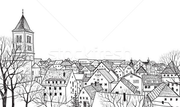 Vista de la calle paisaje urbano horizonte medieval paisaje edad Foto stock © Terriana