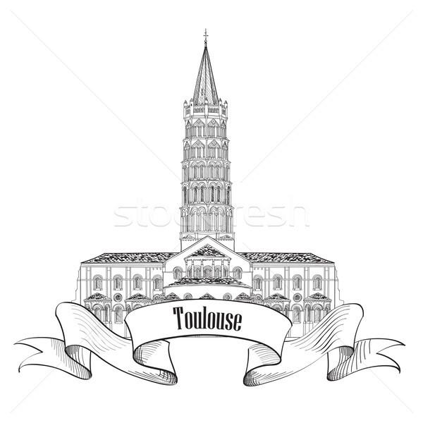 Mijlpaal reizen Frankrijk symbool basiliek Stockfoto © Terriana