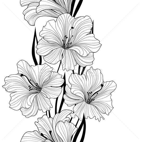Floral seamless background. Flower pattern. Border with flowers. Stock photo © Terriana