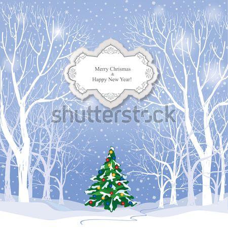 クリスマス 雪 冬 風景 休日 グリーティングカード ストックフォト © Terriana