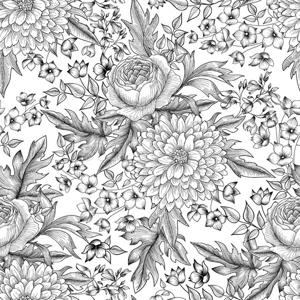 Flower bouquet seamless pattern. Floral sketch background. Engra Stock photo © Terriana