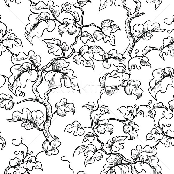 Floral seamless pattern. Decorative plant branch, leaves. Flouri Stock photo © Terriana
