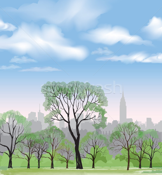 Spring trees park over city background. Landscape skyline Stock photo © Terriana