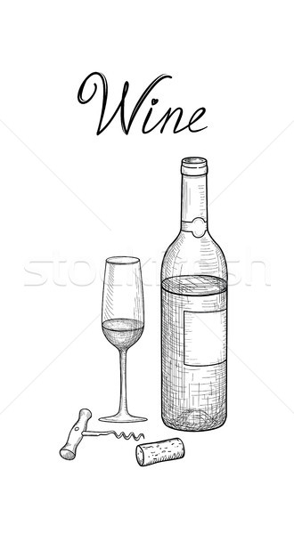 Wine set. Wine glass, bottle, corkscrew, wine stopper, lettering Stock photo © Terriana