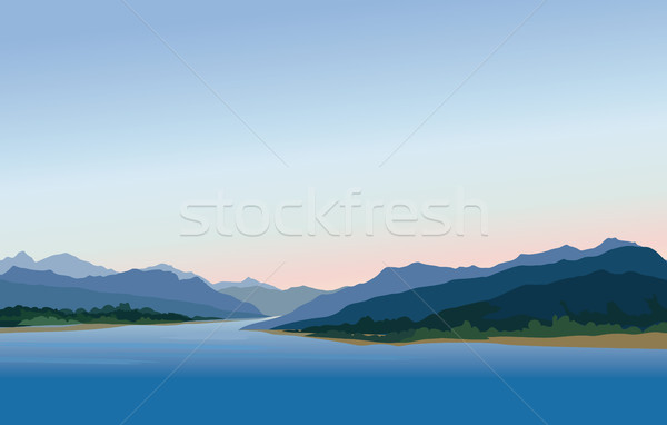 Mountain and hills landscape. Rural skyline. Lake Lagoon resort view Stock photo © Terriana