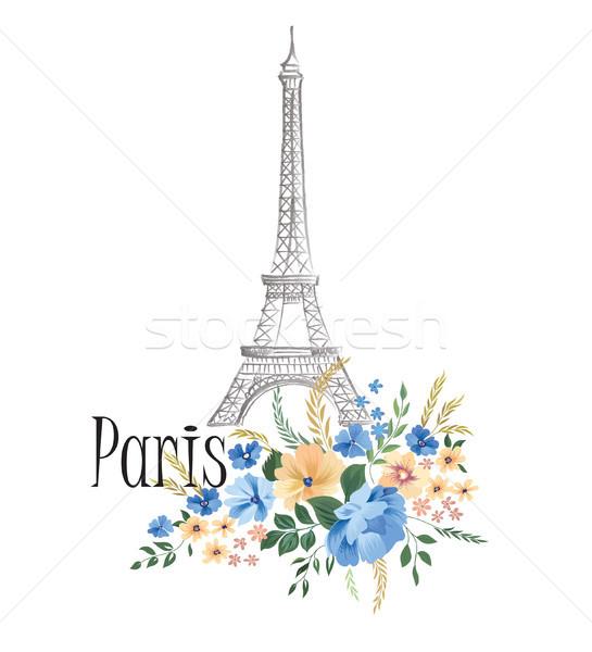 Paris imzalamak çiçekler Eyfel Kulesi Stok fotoğraf © Terriana