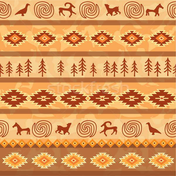 Aztec seamless pattern with animals silhouette. Tribal geometric Stock photo © Terriana