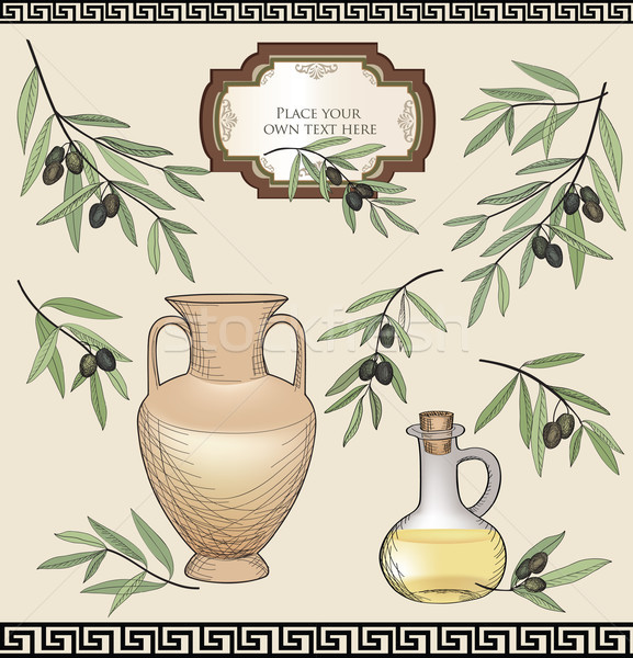 Vintage olive labels set. Organic food colored sketch sign set. Mediterranean cuisine sticker collec Stock photo © Terriana