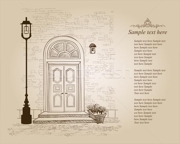 Porte d'entrée vintage vieille maison entrée confortable rue Photo stock © Terriana
