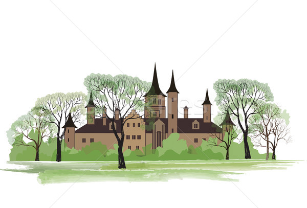 Old house in park. Spring landscape, ancient castle among trees. Stock photo © Terriana