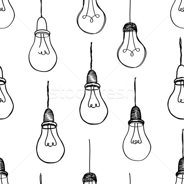 Villanykörte izolált fehér elektromos lámpa végtelenített Stock fotó © Terriana