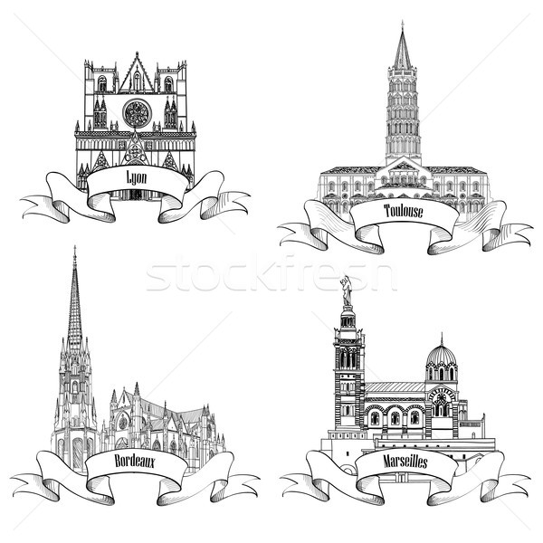 France attraction sign set. Famous french city architectural landmarks. Visit France, masterpiece. Stock photo © Terriana