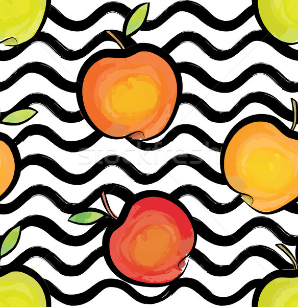 Fruit wave seamless pattern with apple. Food background Stock photo © Terriana