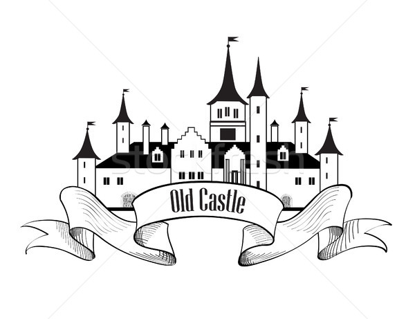 Castle Building Sign. Travel Landmark Label. Fairy tale cartoon Stock photo © Terriana