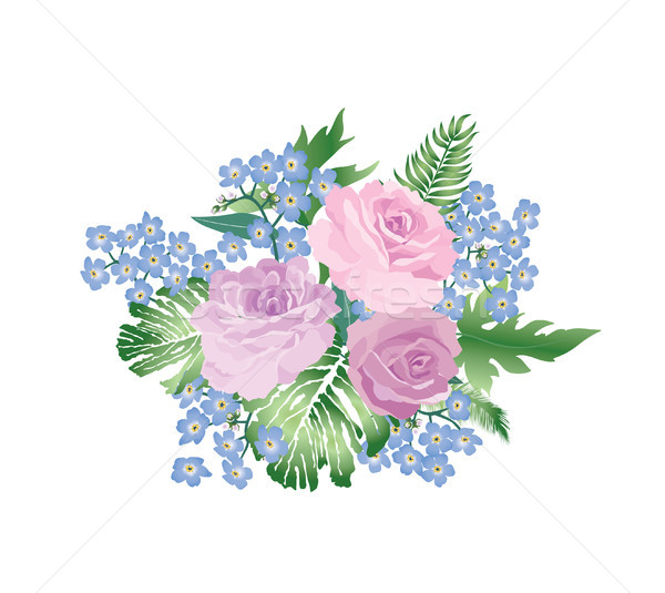 Stock photo: Flower bouquet spring garden background. Greeting card decor. Fl