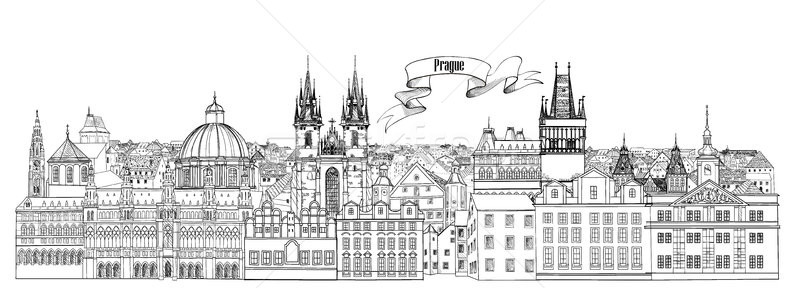 City view. Prague old town landmarks skyline. Travel background Stock photo © Terriana