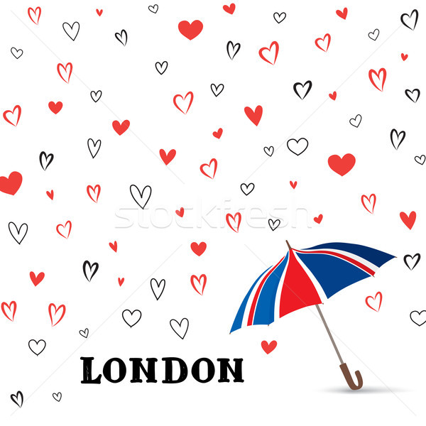 Heart background with umbrella. Love pattern for greeting card.  Stock photo © Terriana