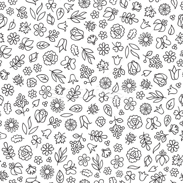 Flower icon seamless pattern. Floral leaves and flowers white te Stock photo © Terriana