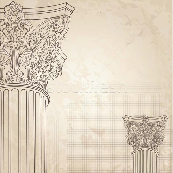 Klasyczny kolumny Roman kolumnie bezszwowy ilustracja Zdjęcia stock © Terriana