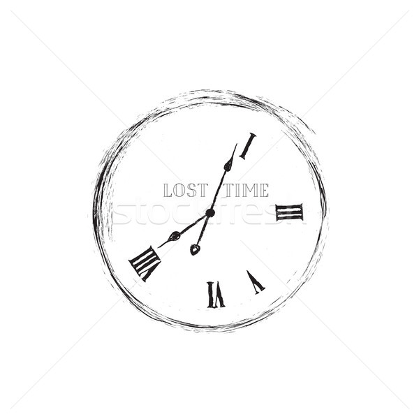 Lost time concept. Doodle watch dial with damaged numbers Stock photo © Terriana