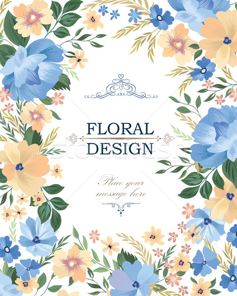 Floral frame background. Flower bouquet cover. Flourish greeting Stock photo © Terriana