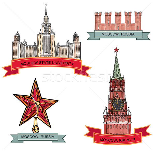 Red Square, Kremlin. Moscow City Label set Stock photo © Terriana
