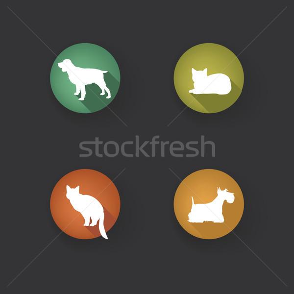 собака кошки ПЭТ силуэта котенка Сток-фото © Terriana