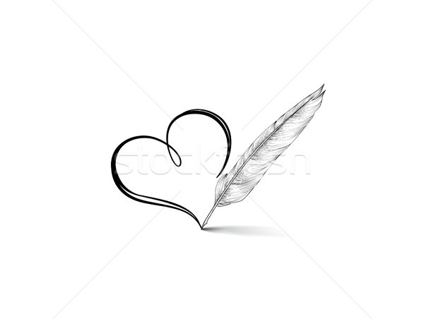 Corazón icono elegante línea arte signo Foto stock © Terriana