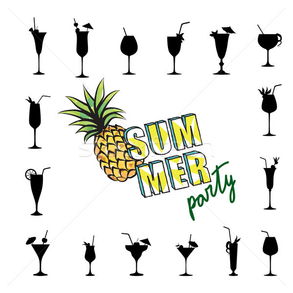 Summer party card background Tropical fruit, cocktail glass set Stock photo © Terriana