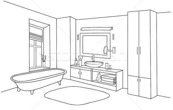 Fürdőszoba belső fürdőkád szoba bútor szett Stock fotó © Terriana