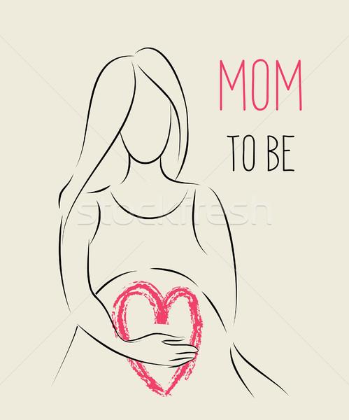 Kobieta w ciąży line sztuki ilustracja sylwetka Zdjęcia stock © Terriana