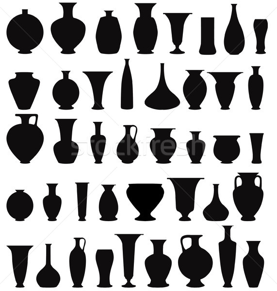 Vase set. Pot Pottery Vases Flower Home Interior Decor icons. Stock photo © Terriana