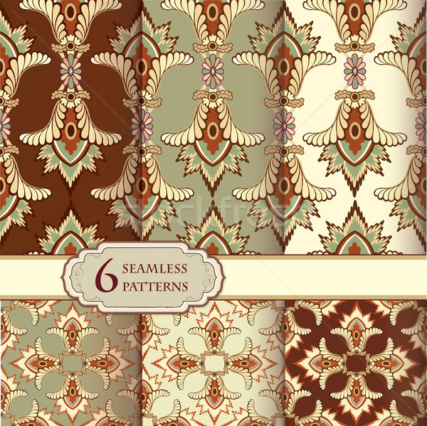 Floral seamless pattern set in vintage style. Abstract vector texture. Geometric backgrounds collect Stock photo © Terriana