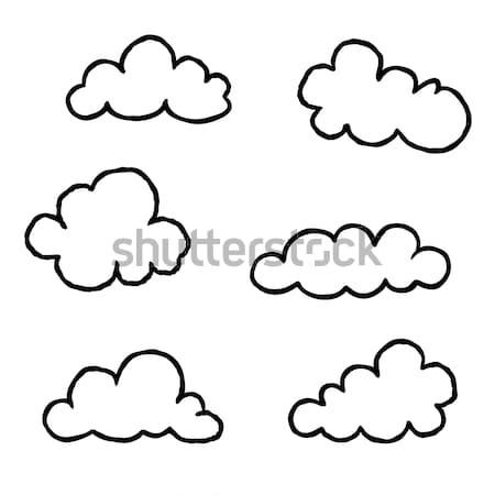 Chmura icon zestaw gryzmolić line sztuki pogoda Zdjęcia stock © Terriana