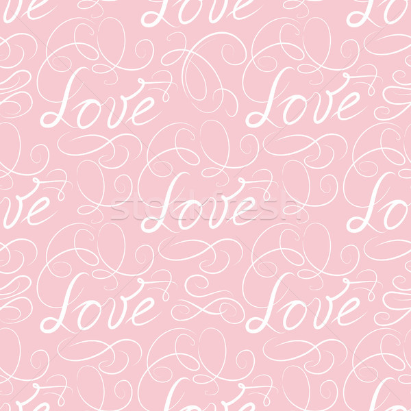 Calligraphic LOVE seamless pattern with vignette. Wedding doodle Stock photo © Terriana