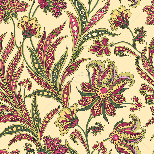 Floral seamless pattern. Flourish oriental ethnic background. Or Stock photo © Terriana