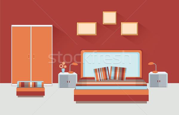 Casa habitación interior dormitorio muebles cama Foto stock © Terriana