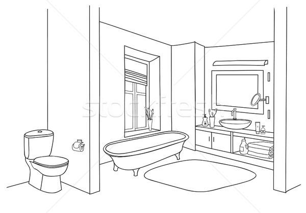 łazienka wnętrza szkic pokój widoku gryzmolić Zdjęcia stock © Terriana