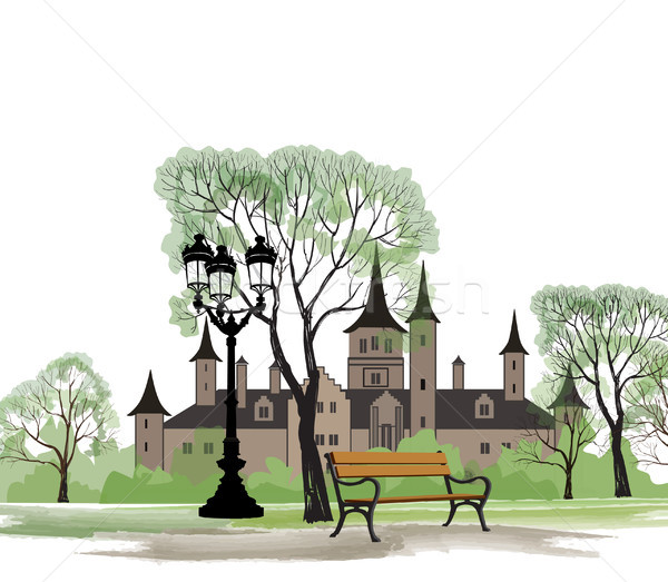 Park bench street lamp spring landscape. Castle building city view Stock photo © Terriana