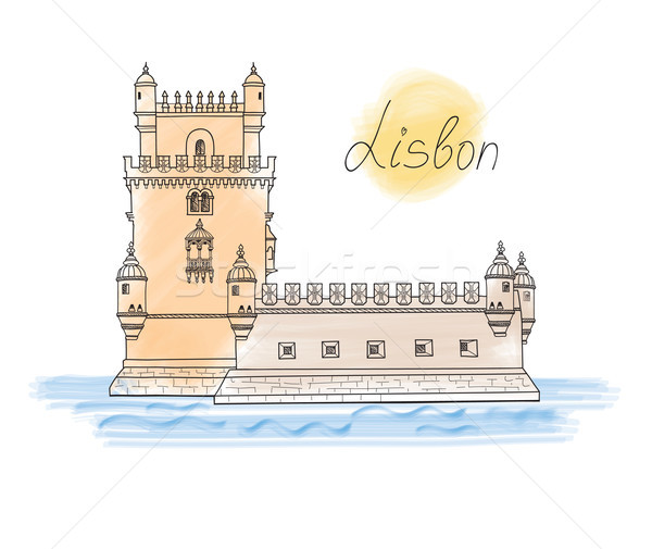 Lisbon Tower landmark. Visit  Portugal card. Travel sign Stock photo © Terriana