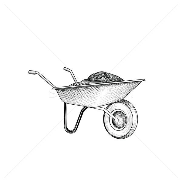 Tuin winkelwagen kruiwagen tuinieren teken Stockfoto © Terriana