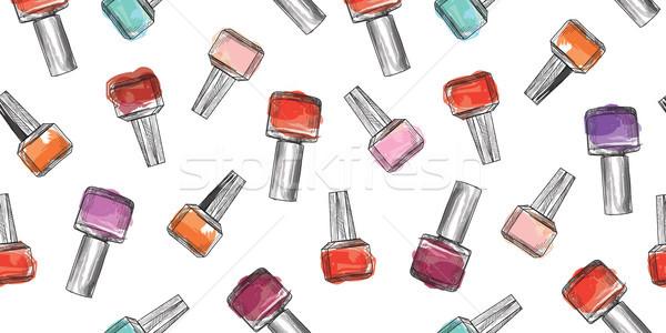 Körömlakk üveg végtelen minta szépségszalon manikűr kéz Stock fotó © Terriana