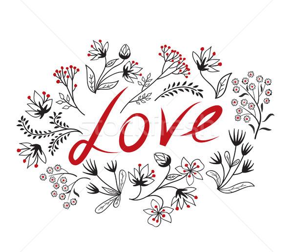 Doodle amore segno manoscritto floreale Foto d'archivio © Terriana
