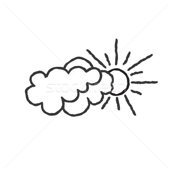 Nap felhők ikon firka vonal művészet Stock fotó © Terriana
