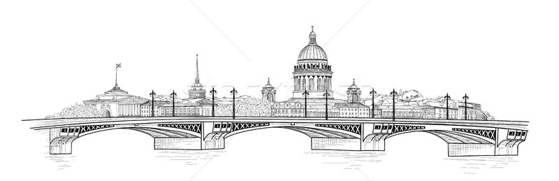 Saint-Petersburg city, Russia. St. Isaac's cathedral skyline. Building landmark, bridge Stock photo © Terriana