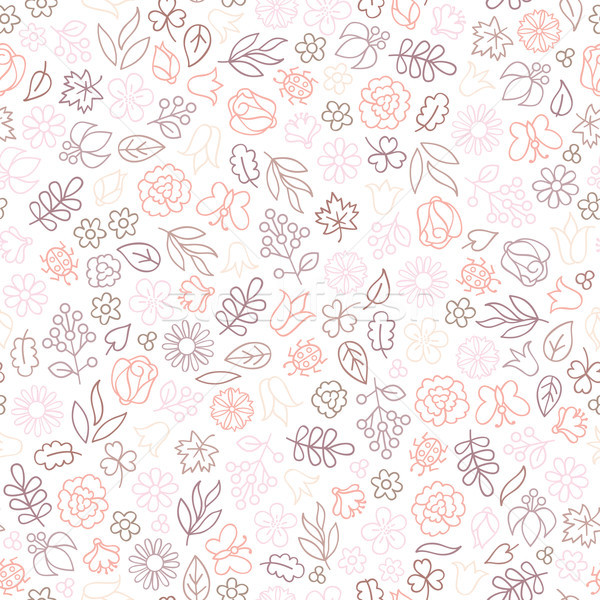 Flower icon seamless pattern. Floral leaves, flowers. White text Stock photo © Terriana