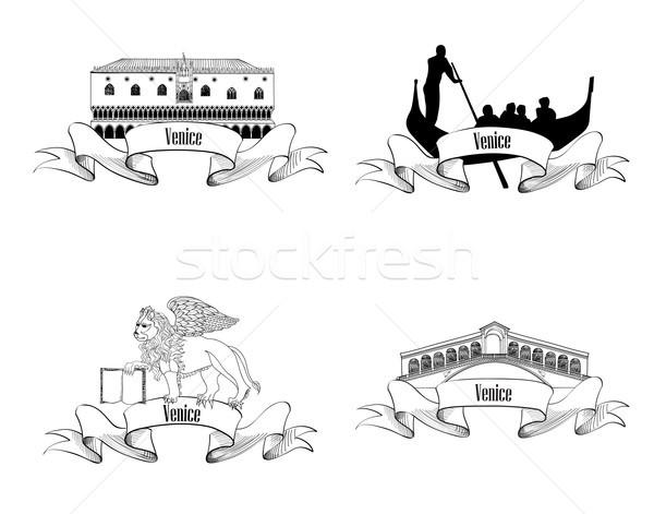 Venice landmarks. Travel Italy symbol sign City labels Stock photo © Terriana